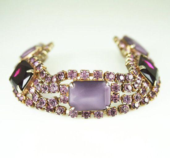 Vintage Bracelet Purple Rhinestone Glass Cabochon by zephyrvintage on Etsy, $69.00