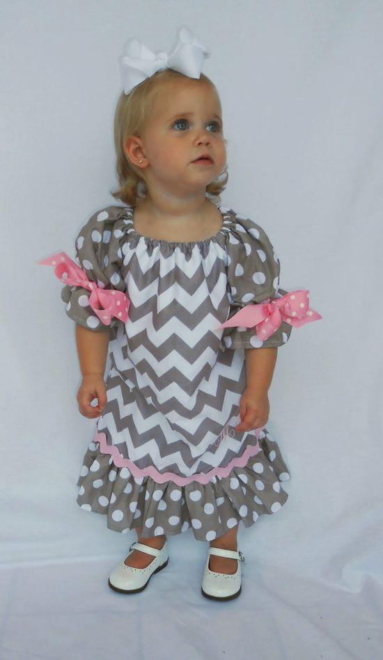 Girl grey chevron peasant dress ~ how cute!!!