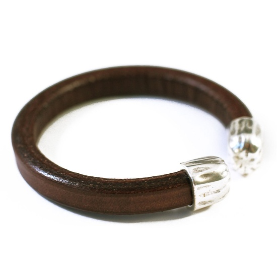 Open Leather Cuff Mens Brown