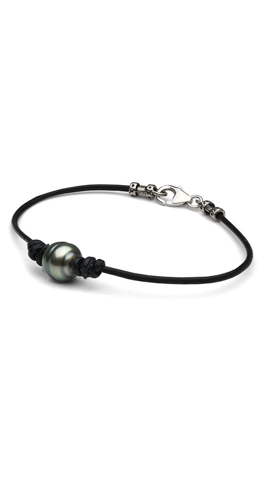Silver Tahitian Baroque Pearl & Leather Bracelet