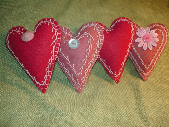 Sweet Emroidered Felt Valentine Folk Hearts by MyDisgustedCats, $24.00