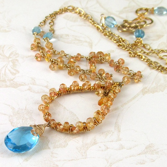Yellow sapphire necklace, handmade gold filled Swiss blue topaz necklace-OOAK