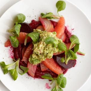 Beets & Crushed Avocado with Grapefruit Salad