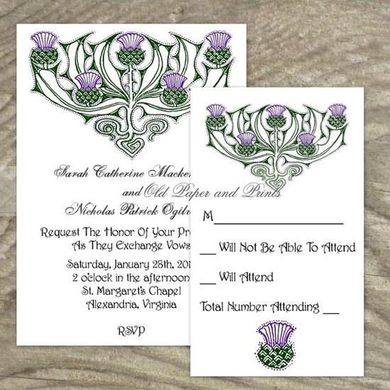Celtic or Scottish Wedding Invitation Set  by OldPaperAndPrints, $19.99