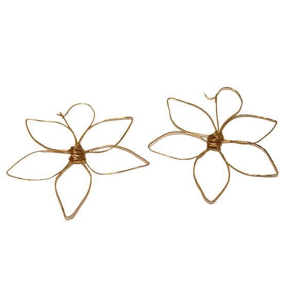 Handmade Flower Shaped Earrings Gold Plated
