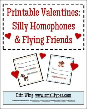 Use these free printables for Valentine's Day fun in your classroom. This packet includes two sets. (Silly Homophones and Flying Friends) Each ...