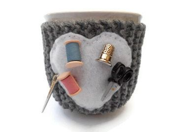 Sewing Mug Cup Cozy Knit in Gray with Sewing by stinkRknits, $18.00 #coffee #tea #sewing