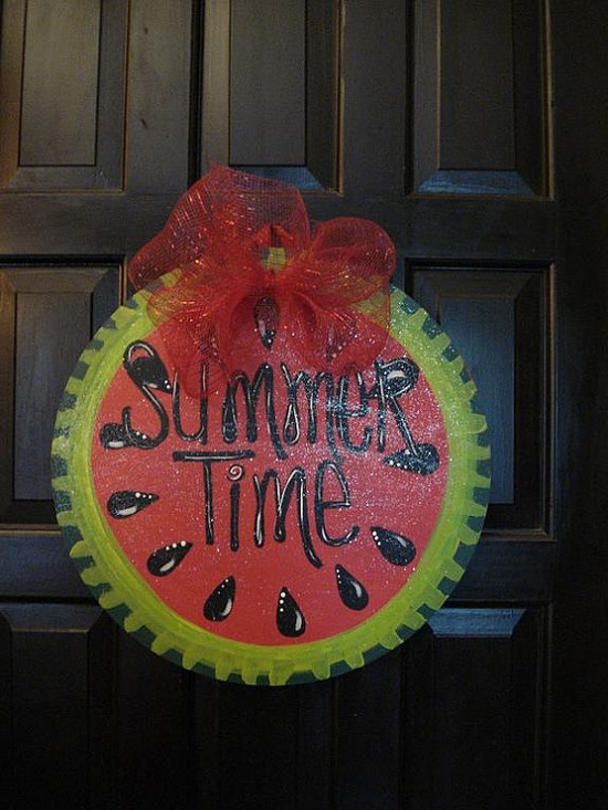 Summertime watermelon door hanger decoration sign by merrymerchant, $24.00