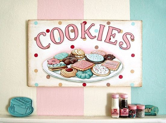 COOKIES vintage style hand painted sign  by Everyday is a Holiday
