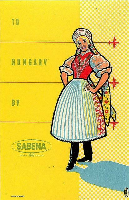 Vintage Poster Hungary  Sabena C 1950 via flickr