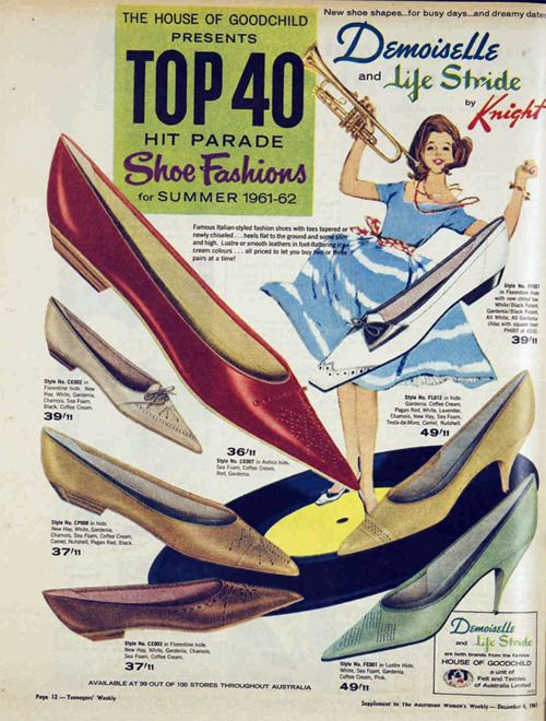Top 40 Hit Parade Shoe Fashions for Summer 1961-62.