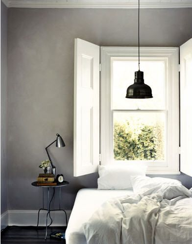 Gray and white bedroom, so me!