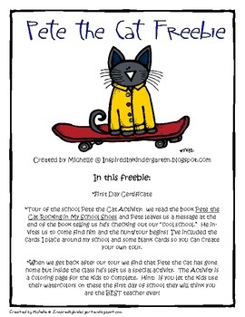 *First Day of School Certificate*Pete the Cat tour card for the first day of school*Color page...