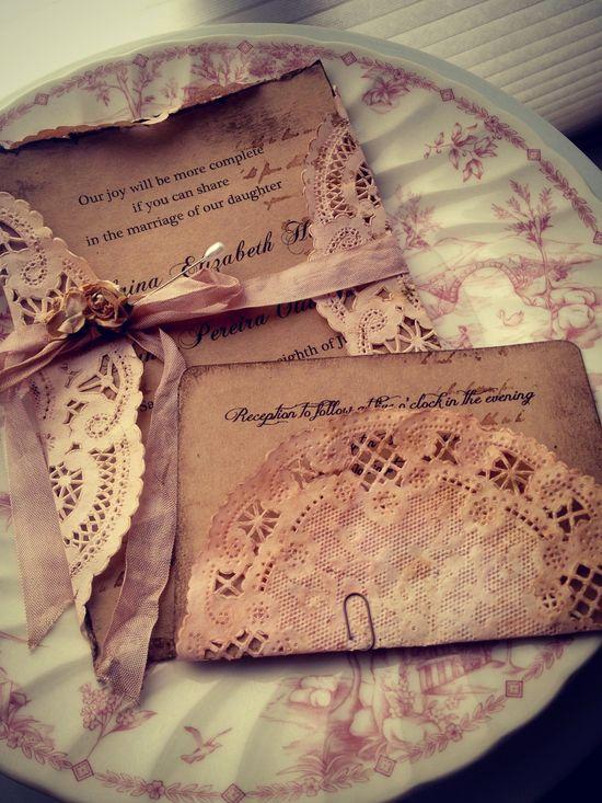 Pale Pink  Handmade Wedding Invitations