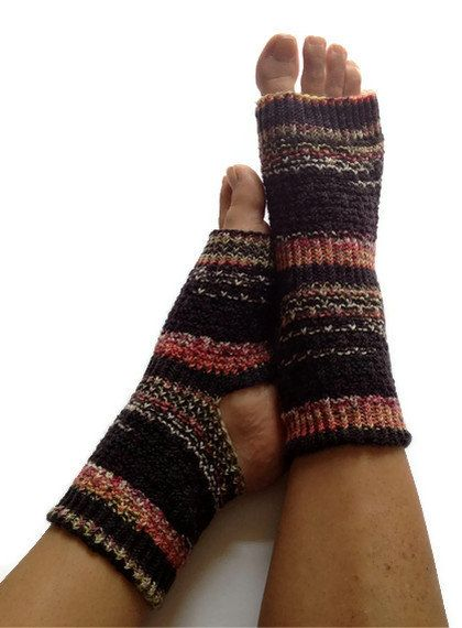 "Toeless Yoga Socks Hand Knit in ""Blackjack"" Pedicure Pilates Dance. $35.00, via Etsy."