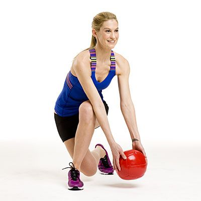 Lower body: Skater lunge    Stand with feet shoulder-width apart, holding a 4- to 6-pound medicine ball (or dumbbell) in both hands in front of you. Step your right leg diagonally back behind your left, and lower into a lunge, bringing the medicine ball down to the outside of your left knee; tap the ball on the floor.    Return to standing and reach the ball overhead. Repeat on opposite side.