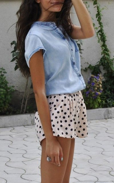 denim and polka dots