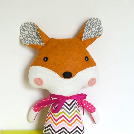 Fox Doll Plush Toy Softie Stuffed Animal for by FriendsOfSocktopus, $44.00