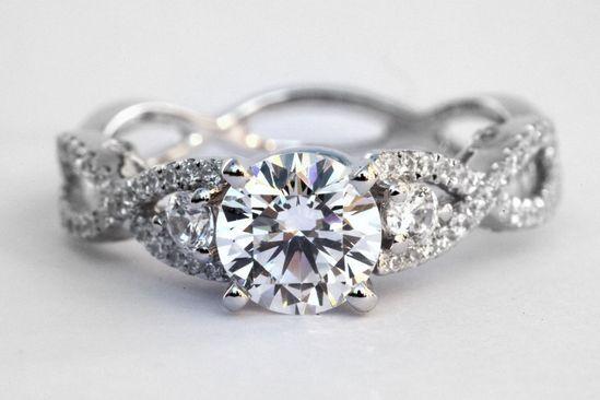 Diamond Engagement Ring - 1.15 carat Round - Pave - Antique Style - 14K white gold - Weddings- Luxury- Brides. $2,500.00, via Etsy.