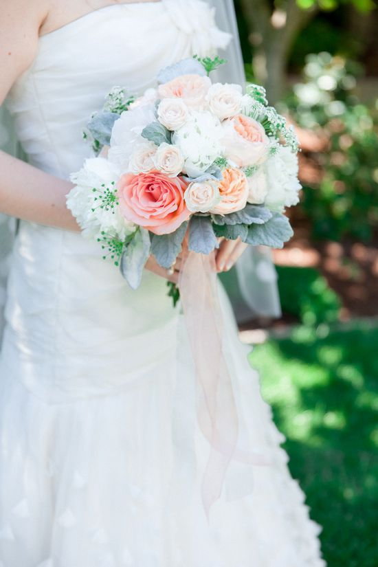 Romantic pink and peach wedding bouquet