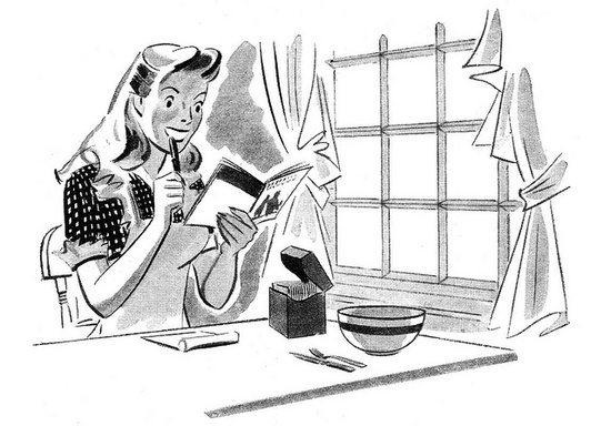 Just a perfectly cute little black and white illustration of a busy gal deciding what to whip up for supper. Love it! :) #vintage #cooking #illustration #homemaker #housewife #food #1950s #fifties