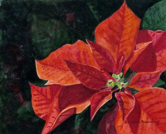 """""""Poinsettia"""" #Red #Flower #Home #Decor #Christmas #Art Watercolor #Painting #Gift Idea. This gorgeous red flower is perfect any time of year. Start a flower painting collection that will beautify your home! ART is a wonderful gift any time. © 2011 by Barbara Rosenzweig, matted 11x14 art print of original $34.00 Free Shipping US - available in other sizes Etsy"""