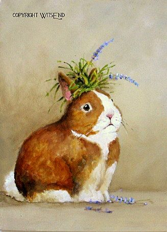 'THE GUILTY PARTY', Bunny rabbit painting art  still life with lavender by WitsEnd, via Etsy