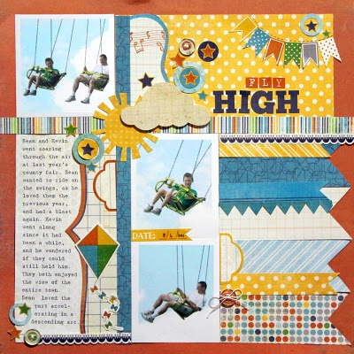 This scrapbook layout has three pictures with large journal box.  Love the summer look.
