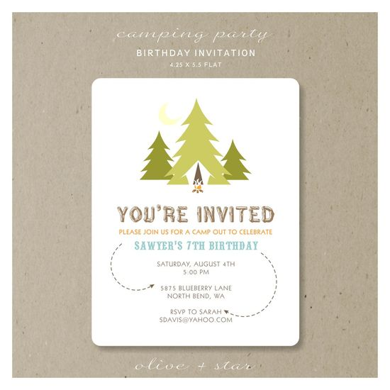 camping party : birthday invitation set. $16.75, via Etsy.
