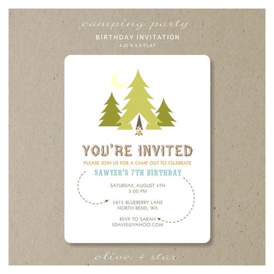 camping party : birthday invitation set. $16.75, via Etsy.