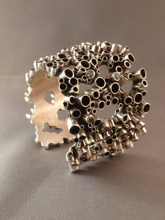 Bubble cuff bracelet (by bluedahliajewelry on Etsy)