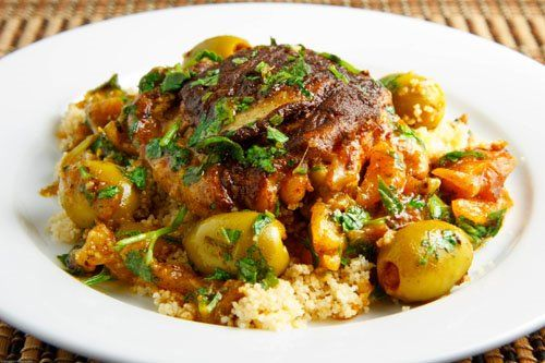 Moroccan Chicken Tagine with Olives and Preserved Lemons by closetcooking.com:     Delicious! #Chicken #Moroccan_Chicken#closetcooking