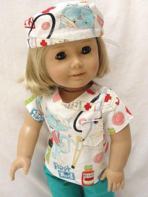 American Girl Doll Scrubs  Doctor Nurse by DollClothesByJane, $21.00