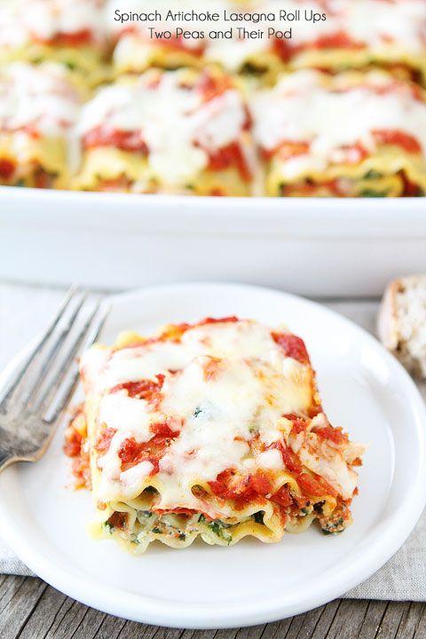 Spinach Artichoke Lasagna Roll Ups Recipe on twopeasandtheirpo...