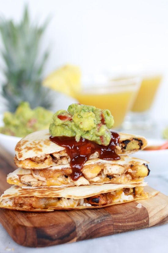 Hawaiian BBQ Quesadillas with Pineapple-Mango Guacamole. For those times you're feelin' tropical.