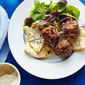 Lamb Kebabs with a Greek Salad side.