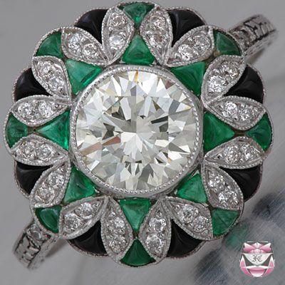 emerald art deco diamond ring