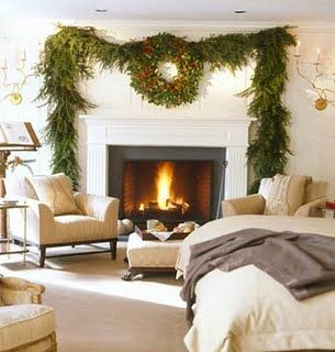 fireplace with wreath and natural greenery garland