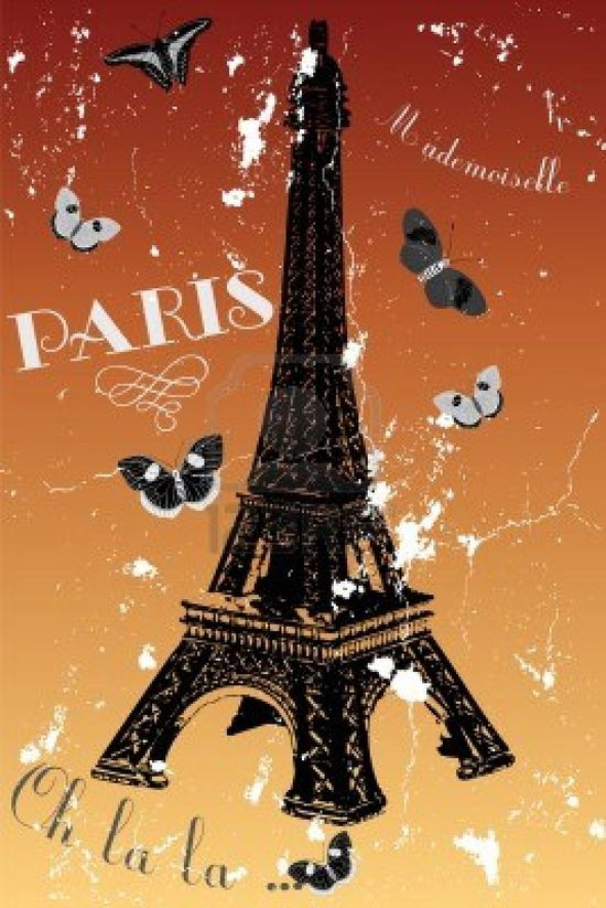 Paris - vintage poster with eiffel tower, butterflies and french text Stock Photo