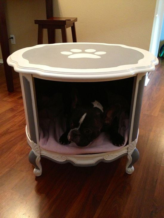 Shabby hand painted dog bed end table. $175.00, via Etsy.