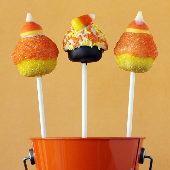 Candy corn cake pops from Love from the Oven!    www.lovefromtheov...