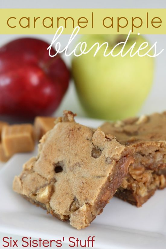Caramel Apple Blondies from SixSistersStuff.com. Thick and chewy blondies perfect for fall! #dessert #fall