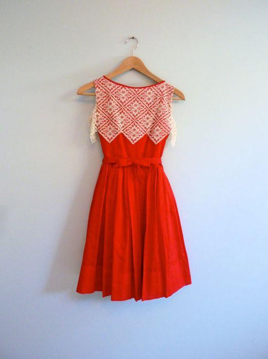 Red White Lace 1950s Party Dress Zig Zag Full Skirt Holiday Dress XS. $72.00, via Etsy.