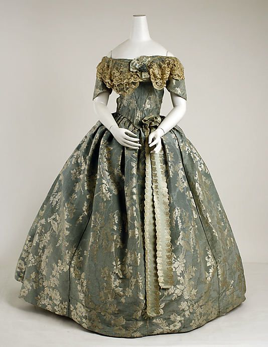 Dress 1855, French, Made of silk