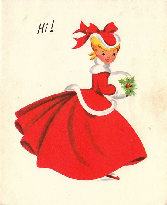 Love her festive outfit! #vintage #Christmas #cards #cute