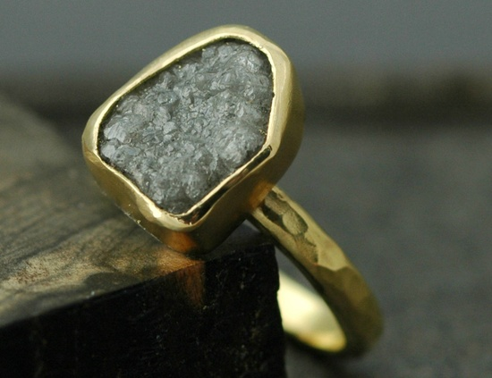 18k Yellow Gold and Rough Diamond Ring- Custom Made to Order- Size F Diamonds.