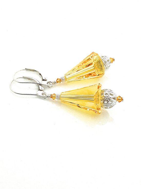 Yellow Earrings #yellow #swarovski #sunshine #earrings by UrbanClink,