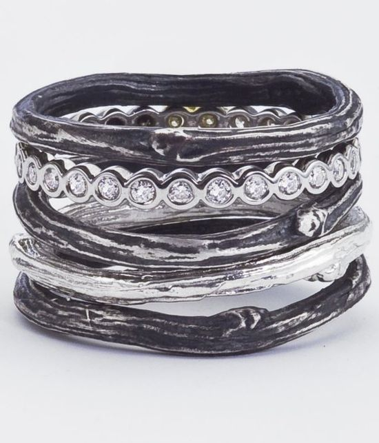 Silver Twig Rings with Diamond Band Eternity Band by bmjnyc, $1660.00