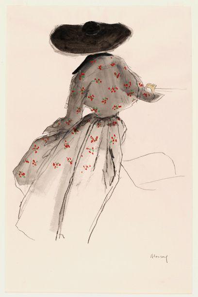 Fashion illustration by Bernard Blossac, ca. 1940s