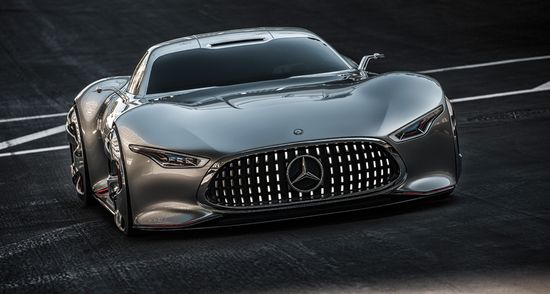 """The super sports car with its hallmark Mercedes gullwing doors will be taking to the virtual racetrack when the new racing game goes on sale in December 2013 – as the first of the """"Vision Gran Turismo"""" series of vehicles."""